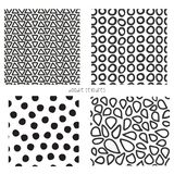 Seamless vector doodle textures set of 4. Repeating backgrounds of black and white triangles, dots, mosaic shape vector illustration