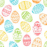 Seamless vector easter pattern with hand drawn eggs Stock Photos