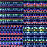 Seamless vector ethnic tribal pattern with chains of multicolored dots and circles on dark blue background Royalty Free Stock Photos
