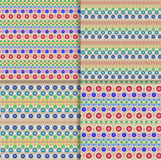 Seamless vector ethnic tribal pattern with chains of multicolored dots and circles on light beige background Stock Photography