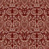 Seamless vector etno pattern with decorative elements. Bohemian square ornament.  Classy burgundy background Stock Image