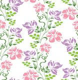 Seamless vector fancy floral wallpaper on white background Stock Photo