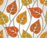 Seamless fancy leaves wallpaper Royalty Free Stock Image
