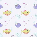 Seamless vector fish pattern illustration. Light background, lilac, yellow, warm tones. stock illustration