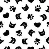 Seamless patten. Cat, paw, heart Stock Photo