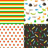 Seamless vector flat patterns. Set in cartoon style with apples, pencils and animals. Seamless vector flat patterns stock illustration