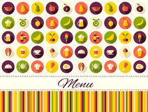 Seamless vector flat style food background with place for text Royalty Free Stock Image