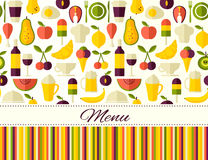 Seamless vector flat style food background with place for text Royalty Free Stock Photos