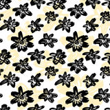 Seamless vector flkoral pattern. Brush pen hand drawn doodle abs. Tract diagonal flower shapes texture royalty free illustration