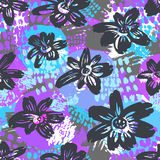 Seamless vector flkoral pattern. Brush pen hand drawn doodle abs. Tract diagonal flower shapes texture vector illustration