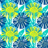 Seamless vector flkoral pattern. Brush pen hand drawn doodle abs. Tract diagonal flower shapes texture stock illustration