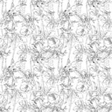 Seamless vector Floral black and white patterns. Black and white background with outline hand drawn. Design for fabric, textile print, wrapping paper, Wallpaper vector illustration