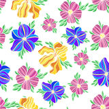 Seamless vector floral decorative colorful pattern Royalty Free Stock Image