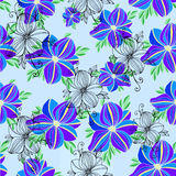 Seamless vector floral decorative orchid blue colorful pattern Stock Images