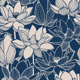 Seamless vector floral lotus hand drawn pattern. Seamless vector floral lotus blue hand drawn pattern Royalty Free Stock Photo