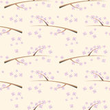 Seamless vector floral patter. Background with flowers on the branch.  Stock Image
