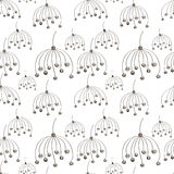 Seamless vector floral pattern. Black and white hand drawn abstract background with flowers. Royalty Free Stock Images
