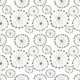 Seamless vector floral pattern. Black and white hand drawn background with abstract flowers. Royalty Free Stock Images