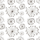 Seamless vector floral pattern. Black and white hand drawn background with abstract flowers. Stock Image