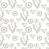 Seamless vector floral pattern. Black and white  hand drawn background with different flowers and leaves. Stock Photo