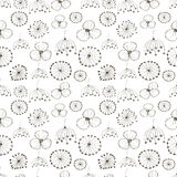 Seamless vector floral pattern. Black and white hand drawn background with different flowers. Royalty Free Stock Image