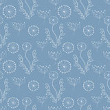 Seamless vector floral pattern. Blue hand drawn background with different flowers and leaves. Stock Images