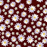 Seamless vector floral pattern on brown background. Daisies and yarrow.  stock illustration