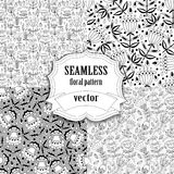 Seamless vector floral pattern collection Stock Images