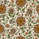 Seamless vector floral pattern with colorful fantasy plants and Stock Images