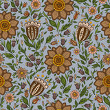 Seamless vector floral pattern with colorful fantasy plants and Royalty Free Stock Photos
