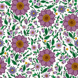 Seamless vector floral pattern with colorful fantasy plants  Royalty Free Stock Photography