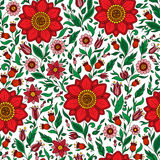 Seamless vector floral pattern with colorful fantasy plants and Royalty Free Stock Image