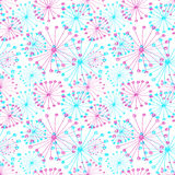 Seamless vector floral pattern. Colorful hand drawn background with abstract flowers. Stock Photo