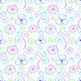 Seamless vector floral pattern. Colorful hand drawn background with different flowers and leaves Royalty Free Stock Image