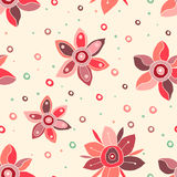 Seamless vector floral pattern, decorative cute hand drawn childlike background with flowers. Print for wrapping, backgrounds, fab Stock Photo