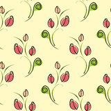 Seamless vector floral pattern. Decorative ornamental background with roses, leaves and decorative elements. Stock Images