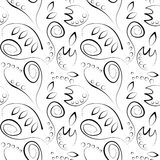 Seamless vector floral pattern. Decorative ornamental black and white background with flowers, leaves and decorative elements Royalty Free Stock Images