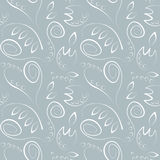 Seamless vector floral pattern. Decorative ornamental blue background with flowers, leaves and decorative elements Stock Photo