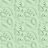 Seamless vector floral pattern. Decorative ornamental green background with flowers, leaves and decorative elements Royalty Free Stock Photos