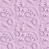 Seamless vector floral pattern. Decorative ornamental violet background with flowers, leaves and decorative elements Stock Images