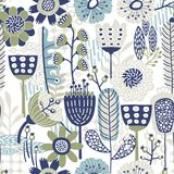 Seamless Vector Floral Pattern with different blues and greens stock illustration