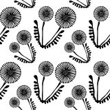 Seamless vector floral pattern with flowers. Cute hand drawn black and white background with dandelions. Royalty Free Stock Photo