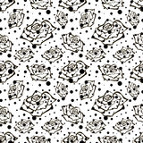Seamless vector floral pattern with flowers. Hand drawn black and white background with rose and dots. Inc painting. Royalty Free Stock Images