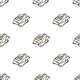 Seamless vector floral pattern with flowers. Hand drawn black and white background with rose. Royalty Free Stock Photos