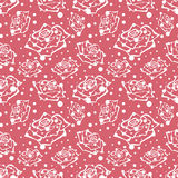 Seamless vector floral pattern with flowers. Hand drawn pink background with rose and dots. Royalty Free Stock Photography