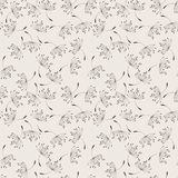 Seamless vector floral pattern of flying Royalty Free Stock Photos