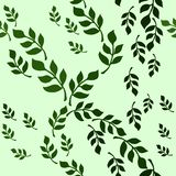 Seamless vector floral pattern with green decorative leaf branch stock illustration