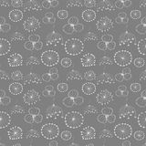 Seamless vector floral pattern. Grey hand drawn background with different flowers Royalty Free Stock Images