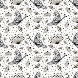 Seamless vector floral pattern with insect. Cute hand drawn black and white background with flowers, butterfly and dots. Stock Photos