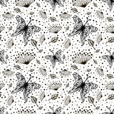 Seamless vector floral pattern with insect. Cute hand drawn black and white background with flowers, Stock Image